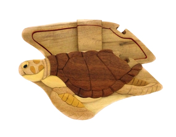 Turtle Sea Turtle Crush Nemo Puzzle Box Jewelry Cash Gift Card Holder Hand Carved Natural Wood No Paints Or Stains
