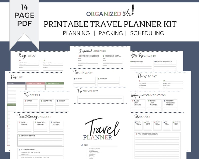 Printable Family Vacation Planner Kit and Travel Organizer image 0