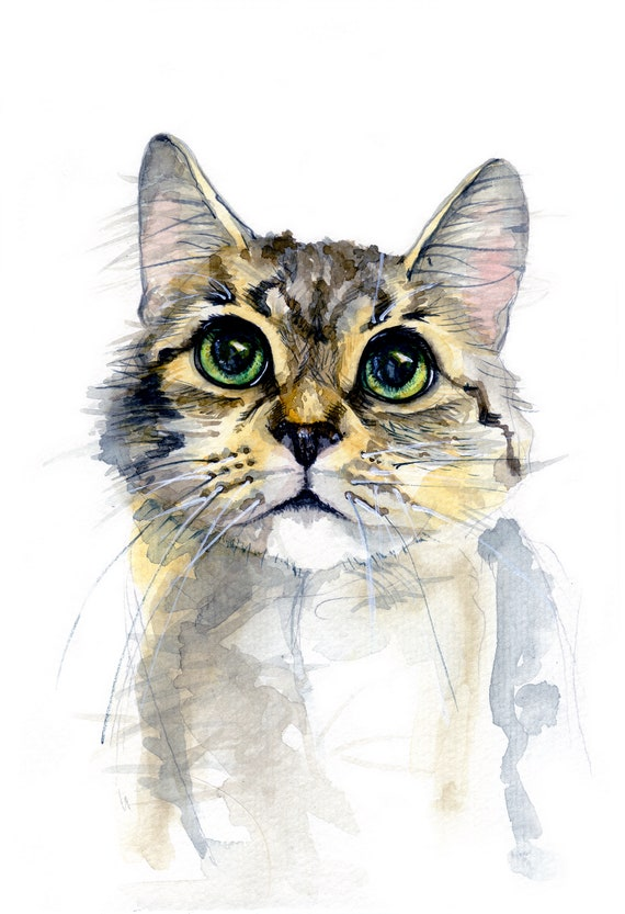 cat with pink ribbon White Cat original watercolor painting 11 x 15 realistic watercolor cat painting