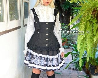 70d3594ac47 SALE--Gothic Lolita black   white dress 3 pieces set