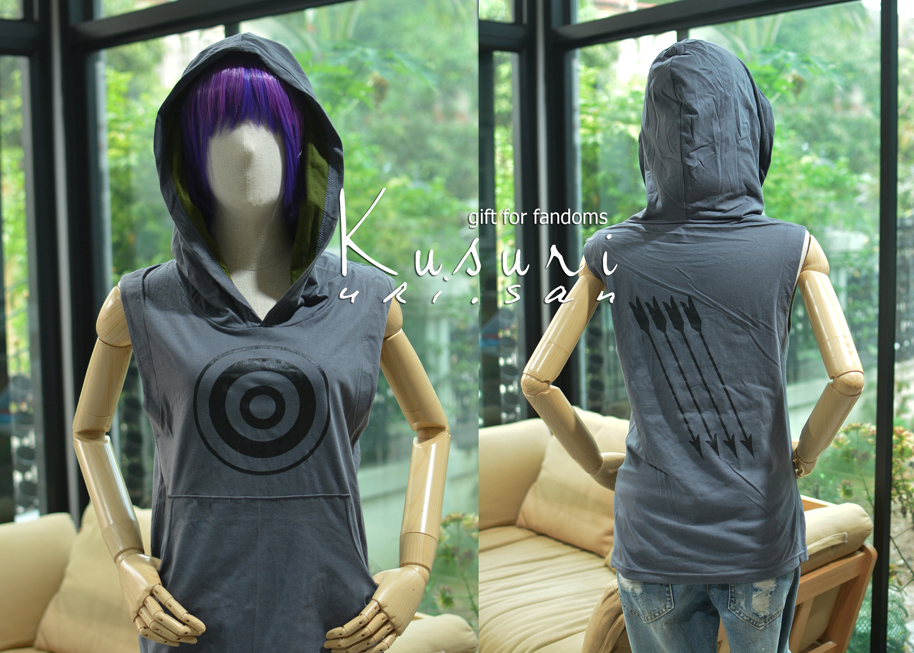 Hawkeye Archery T-shirt Hoodie With Arrow On The Back Side Sleeveless Outdoor Sports