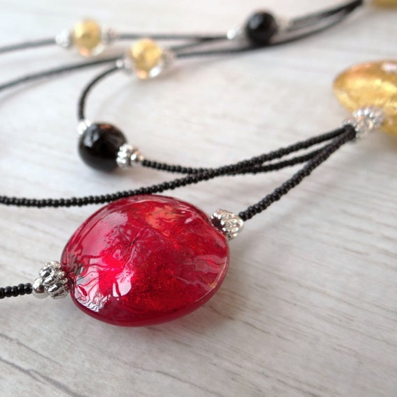 80135cc765cc Murano Glass Necklace Venetian Glass Jewelry with Red