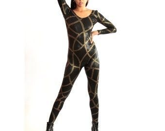 156285 Wonder Woman Inspired Turtle Neck Front Zipper Long Sleeve Catsuit in Blue /& White Star  Gold SJ Waistband  Red Top
