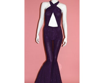 0247a3a11b4b Selena Inspired Costume Purple Glitter Sparkle Catsuit Jumpsuit Bell Bottom  Onesie Playsuit Halter Salina Halloween
