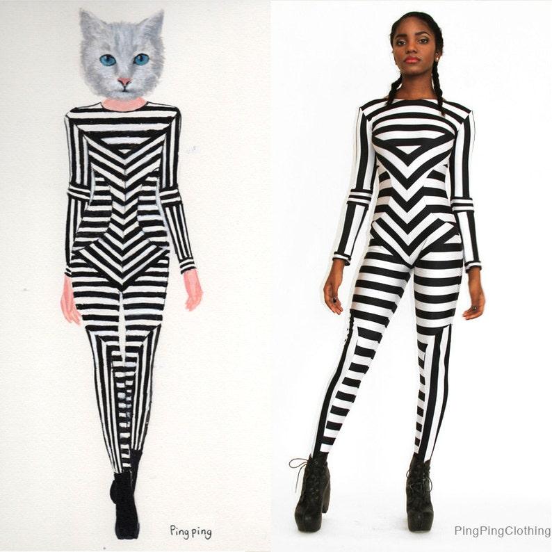 84f713f4a5b Black and White Striped Print Catsuit Spandex Jumpsuit Unitard