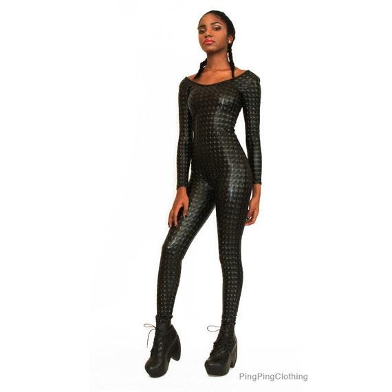 Black Hologram Catsuit Spandex 3D Fabric Wet Look Shiny Jumpsuit