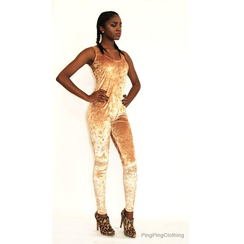 27a00fff01c Metallic Gold Crushed Velvet Catsuit Jumpsuit Onesie Spandex