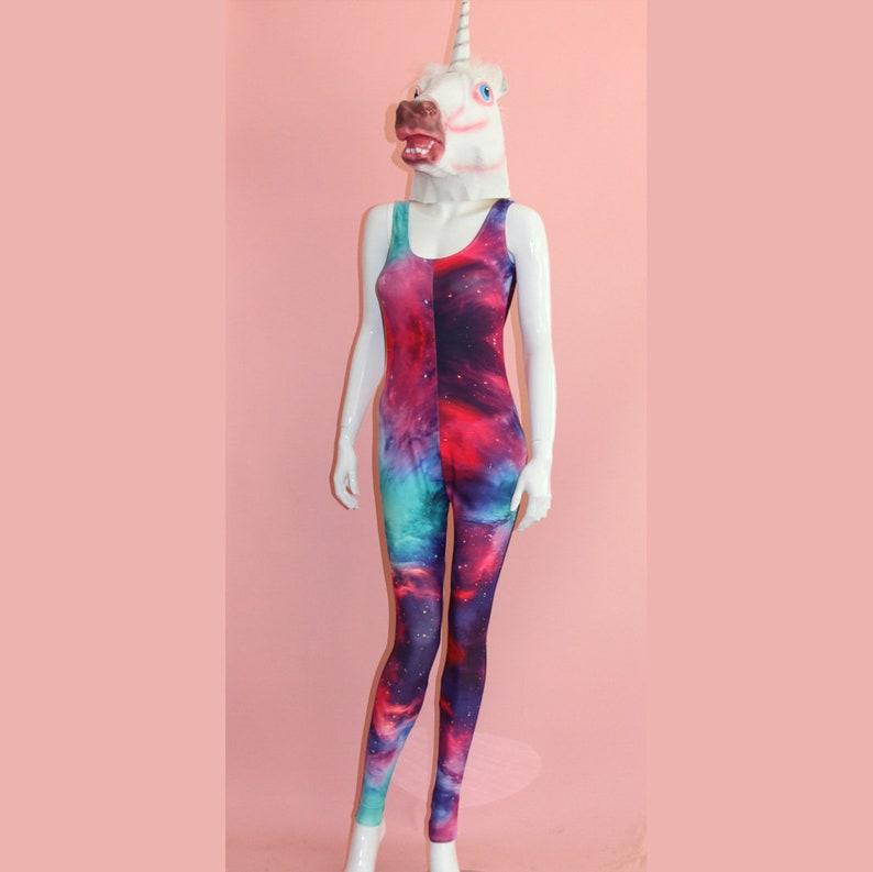 146be31b1d7 Galaxy Print Catsuit Jumpsuit Onesie Cosmos Playsuit Costume