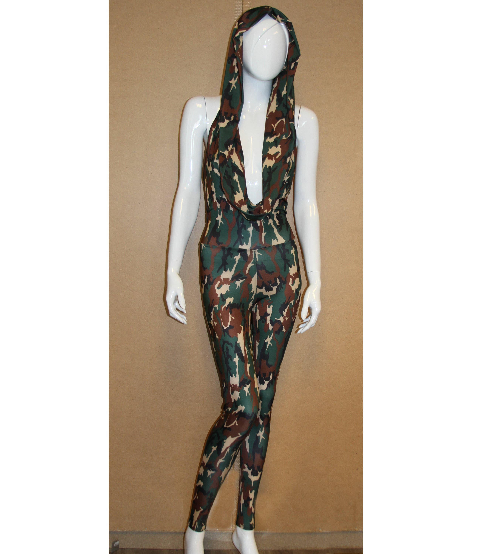 ed525aba452 Handmade Camouflage Print Hooded Halter Catsuit jumpsuit