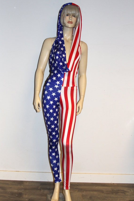 4f7103e49a2 Handmade American Flag Hooded Halter Catsuit jumpsuit Onesie