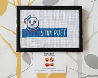 """Ghostbusters """"Stay Puft"""" - Framed Cross Stitch"""
