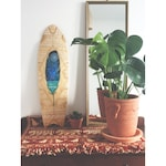 Hand painted 28'' fishtail cruiser skate deck - Arctic Feather - by Maia Walczak