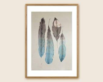 "Feather Art Print: ""Birds of The Sea"""