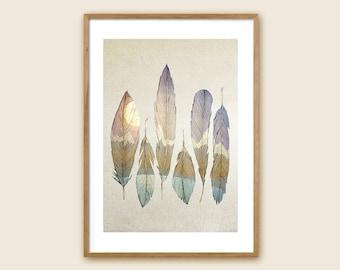 "Feather Art Print: ""Mountain Birds"""