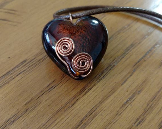 Copper-Coil-Wrapped Brown Glass Heart
