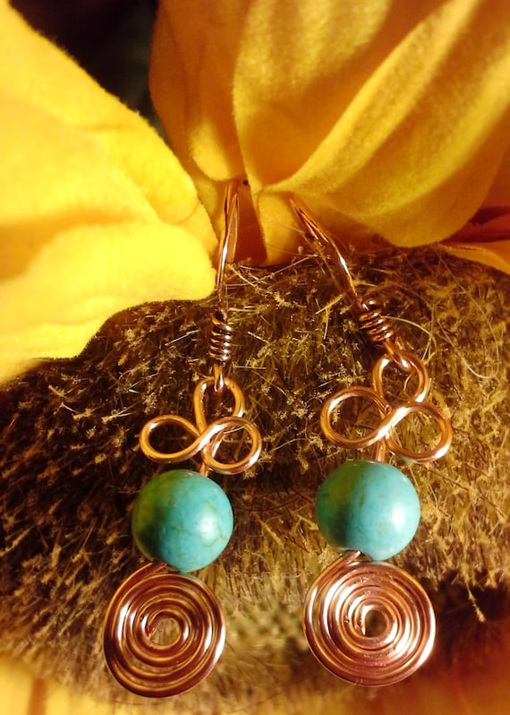 Handmade Copper and Turquoise Swirl and Pretzel Twist