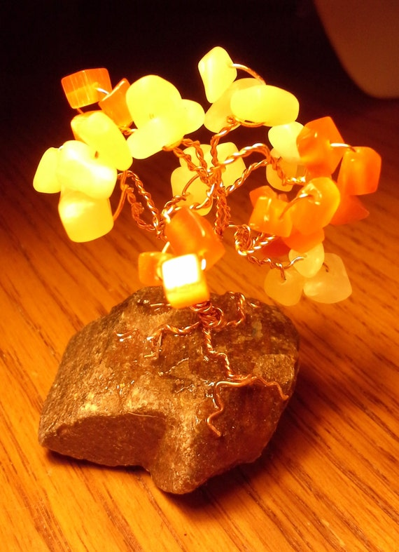 Handmade Cat's Eye and Aragonite Gem Tree