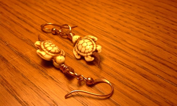 Handmade Turtle Tails Leather and Copper Earrings