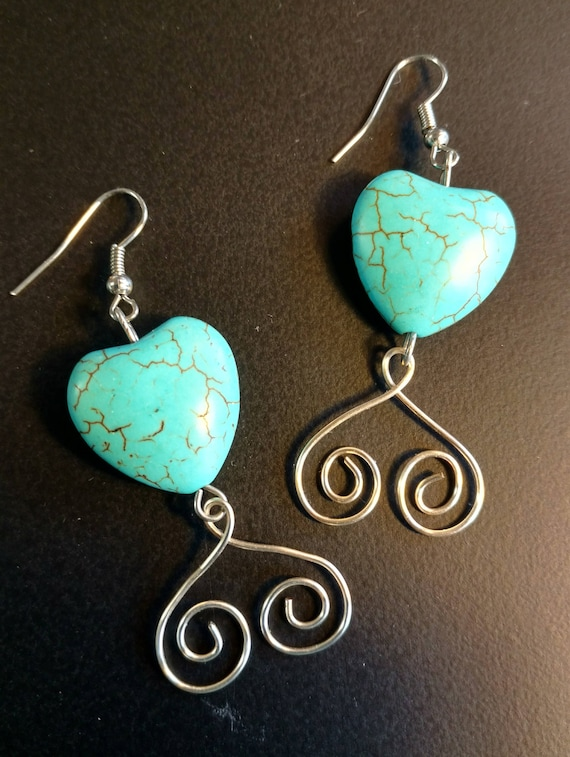 Turquoise (Howlite) and Silver Heart Earrings