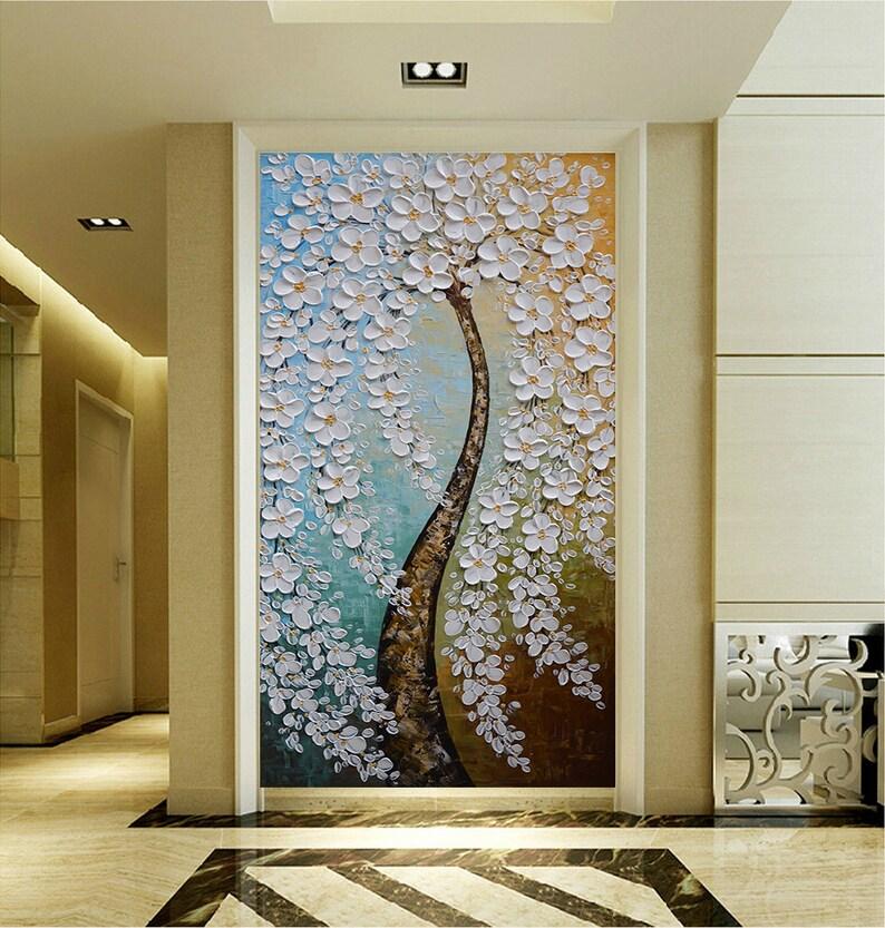 90579a9248 Árbol de flor blanca pintados a mano pintura pared cuadro