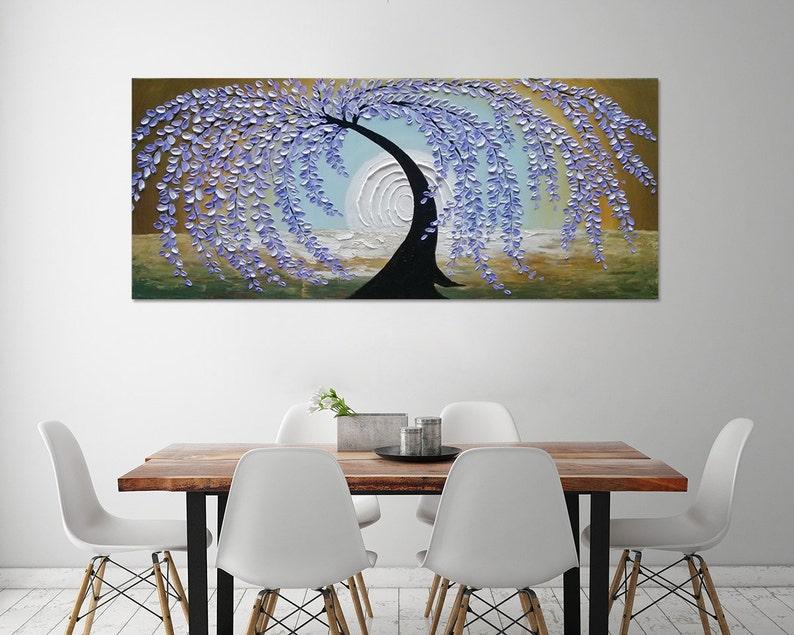Dipinti Murali E Pittura Ad Ago : Dipinti a mano home decor blu viola albero arte pittura murale etsy
