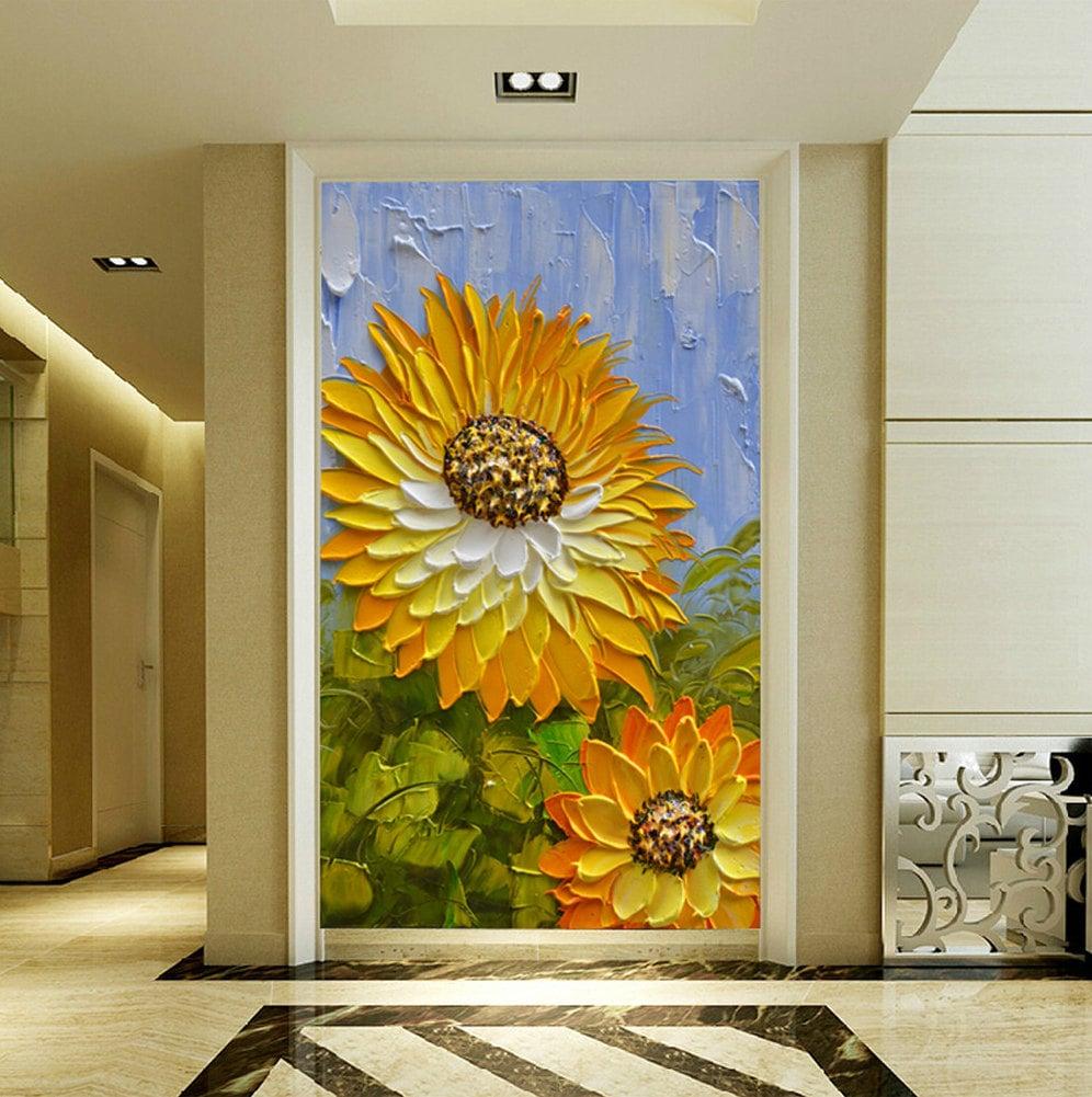 Handgemalten modernen Hauptdekor orange gelbe Sonnenblume Wand | Etsy