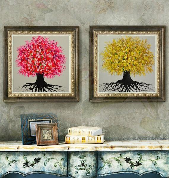 Salon moderne peint à la main décor fleur coloré arbre mur art photo épais  acrylique au couteau palette de peinture à l\'huile sur toile art par Lisa
