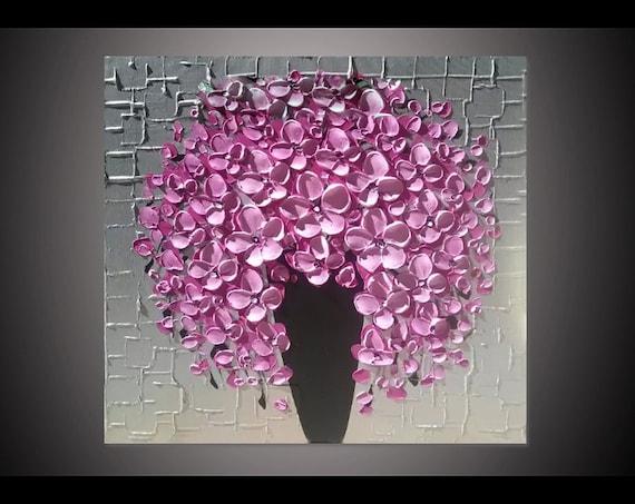 Cuadros Pintados Al Oleo Para Comedor | Pintados A Mano Flor Rosa Flor Florero Decoracion Para El Etsy