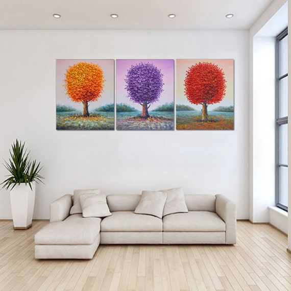 Grande pintado a mano púrpura rojo Naranjo arte salón comedor decoración  espátula gruesa pintura mural en lienzo arte de Lisa