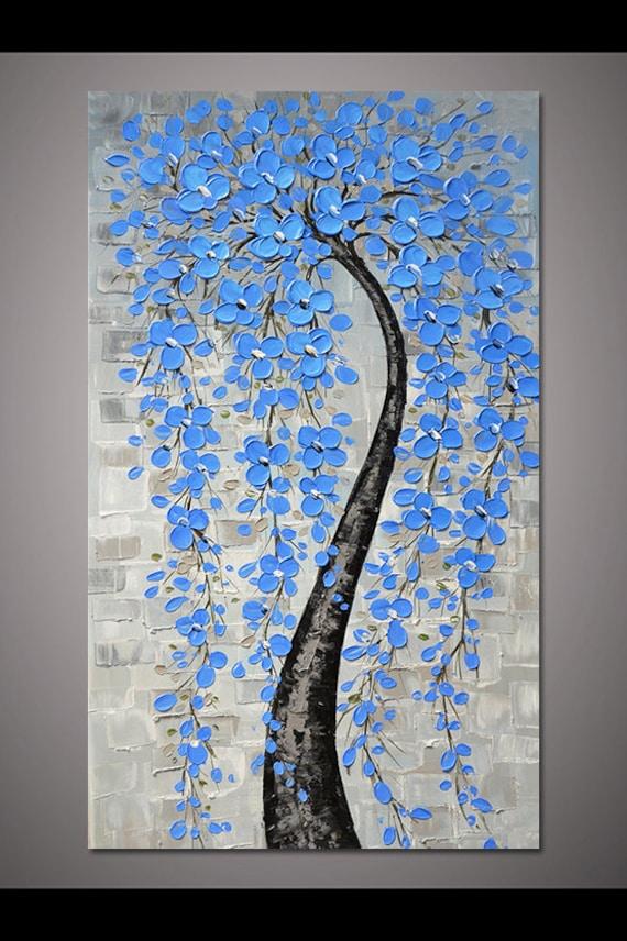 Dipinto A Mano Fiore Blu Chiaro Albero Arte Pittura Murale Per Etsy