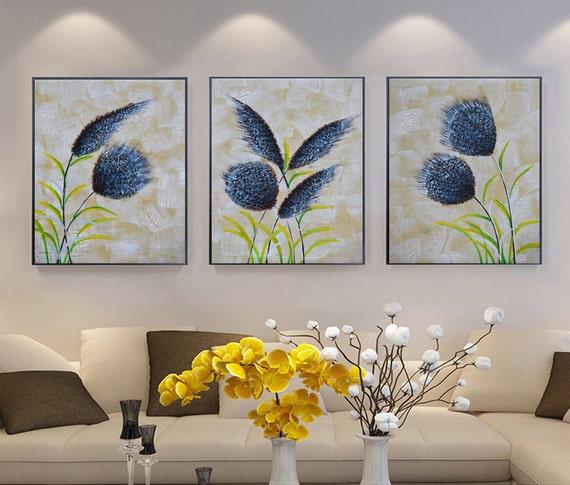 20 x 28 x 3 cuadro de arte pintados a mano con marco azul