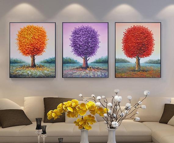 Salon Comedor Grande.Grande Pintado A Mano Purpura Rojo Naranjo Arte Salon Comedor Decoracion Espatula Gruesa Pintura Mural En Lienzo Arte De Lisa