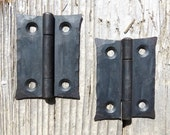 2 Hand Forged 2 quot Butt door Hinges Cabinet Cupboard Box Decor Wrought Iron Blacksmith Period Country home Antique Hardware waxed Black Metal