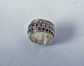 Spinner Ring With Multi Stones.  Silver and Gold Ring Wedding Ring Perfect Gift for Her