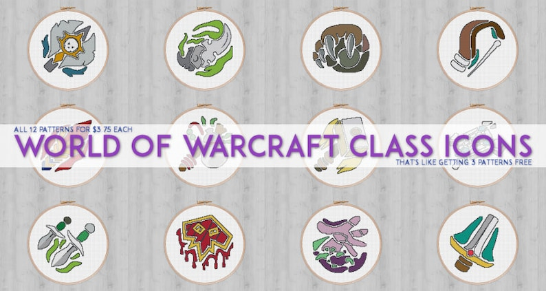 World of Warcraft class icons pack (all 12 patterns) // cross stitch  patterns // geekery and gaming