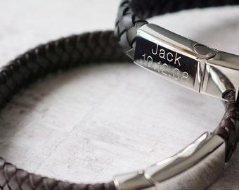 Men's Leather Bracelet -Personalized Leather Bracelet