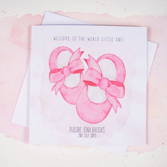 Personalised New Baby Pink Booties Girl Card