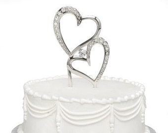 Sparkling Hearts Glam Wedding Cake Topper