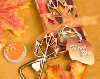 maple leaf bottle opener fall wedding favors pack of 10