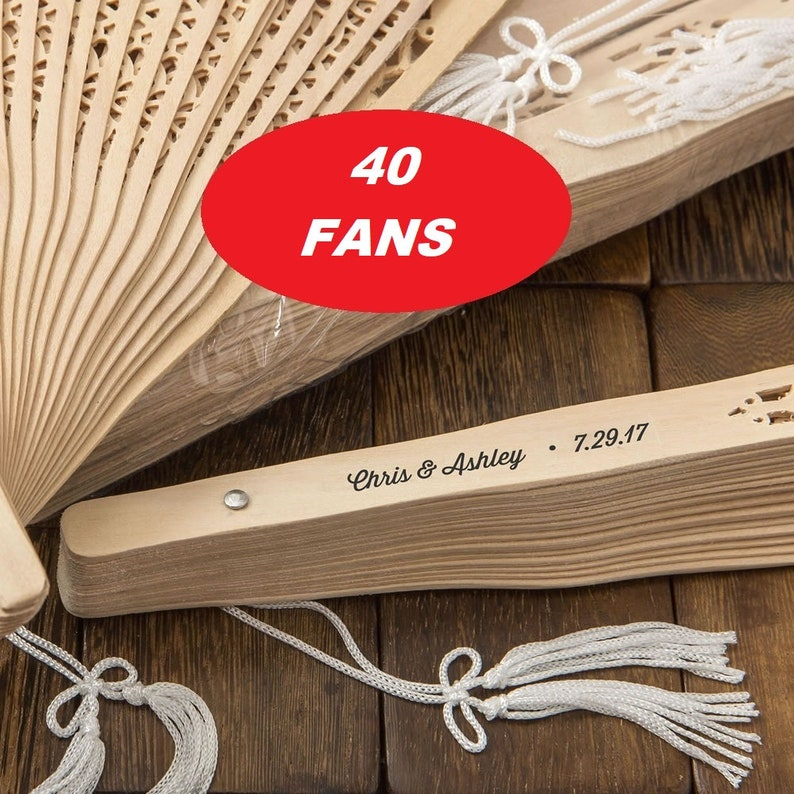 Personalized Sandalwood Rustic Wedding Fans Pack of 40 image 0