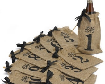 Burlap Table Number Wine Bags (Set of 10 bags Numbered 1-10)