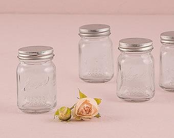 Mini Glass Mason Jars (Pack of 6) Rustic Country Wedding Favors