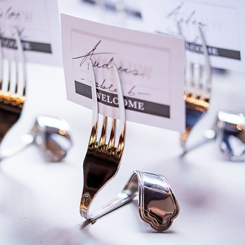 Bent Fork Wedding Place Card Holders (Pack of 8) Wedding Reception Supplies  Table Number Stand