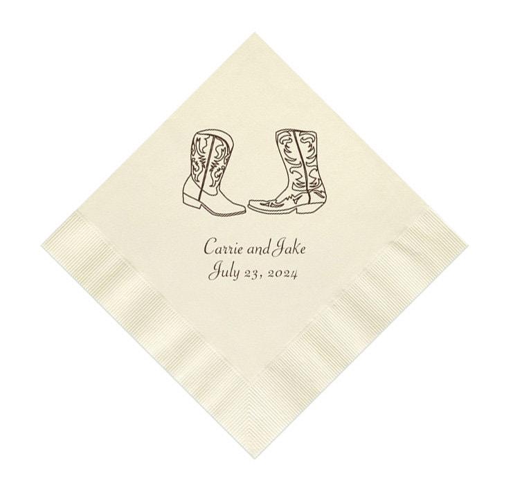 Cowboy Boots Western Wedding Napkins Personalized Set of 100 Paper Napkins
