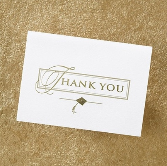 Graduation Thank You Cards Notes Pack Of 50 Silver Or Gold Etsy