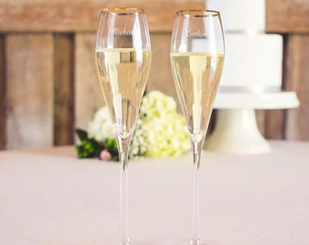 Gold Rimmed Personalized Champagne Wedding Toasting Glasses