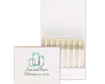 Personalized Mason Jar Wedding Matchbbooks Wedding Favors Matches Rustic Country Wedding