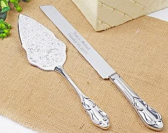 Romance Style Engraved Wedding Cake Knife Set Wedding Accessories Bridal Personalized Server