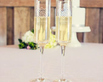 Celtic Personalized Champagne Wedding Toasting Glasses