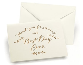 Best Day Ever Wedding Thank You Cards Notes (Pack of 50)